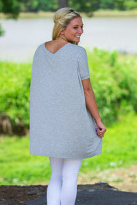 Short Sleeve Piko Tunic - Heather Grey - Piko Clothing
