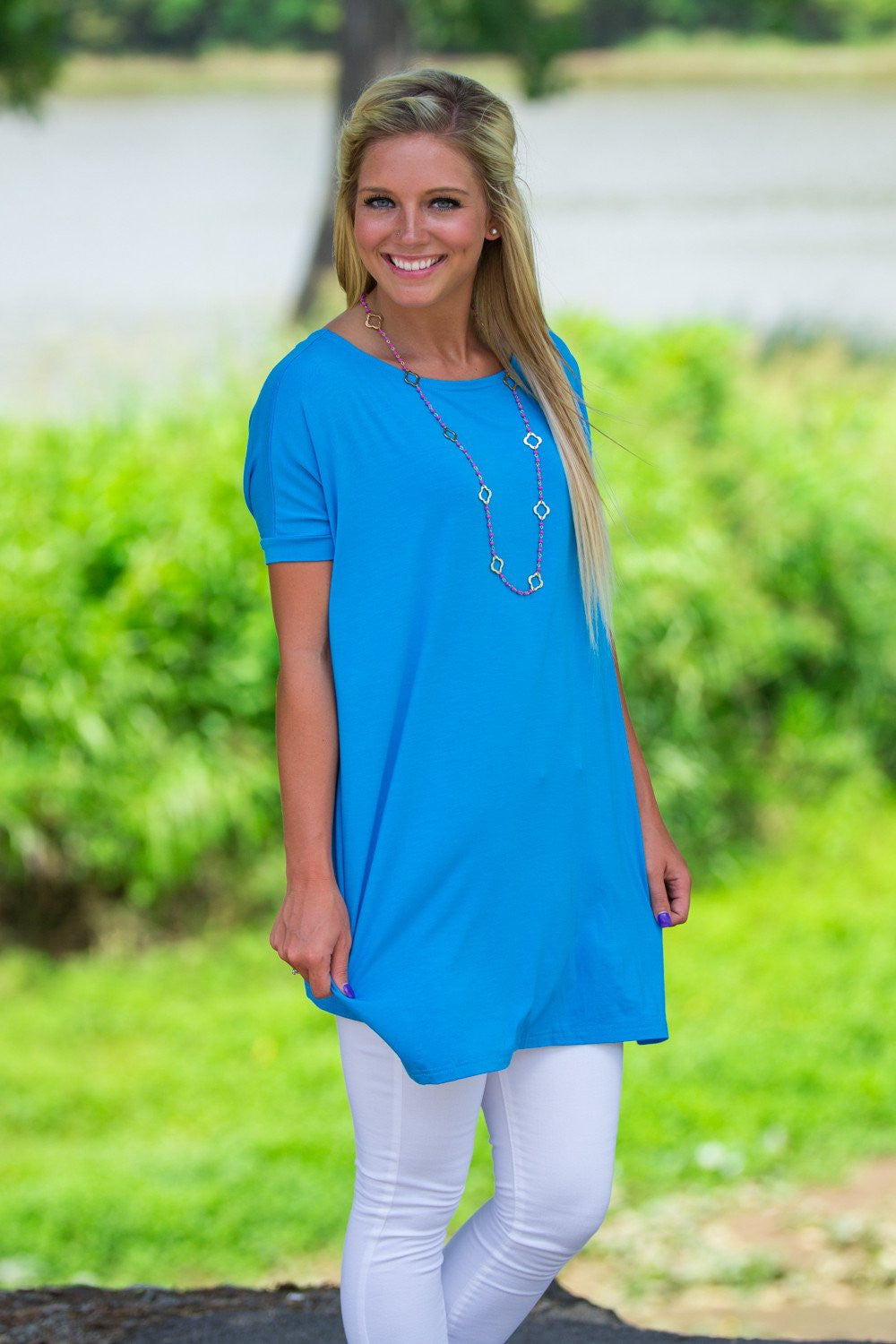 Short Sleeve Piko Tunic - Dazzling Blue - Piko Clothing - 1
