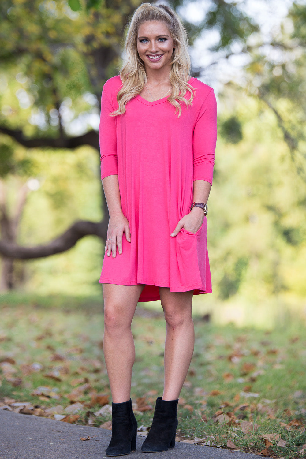 Piko 3/4 V-Neck Sleeve Swing Dress - Hot Pink