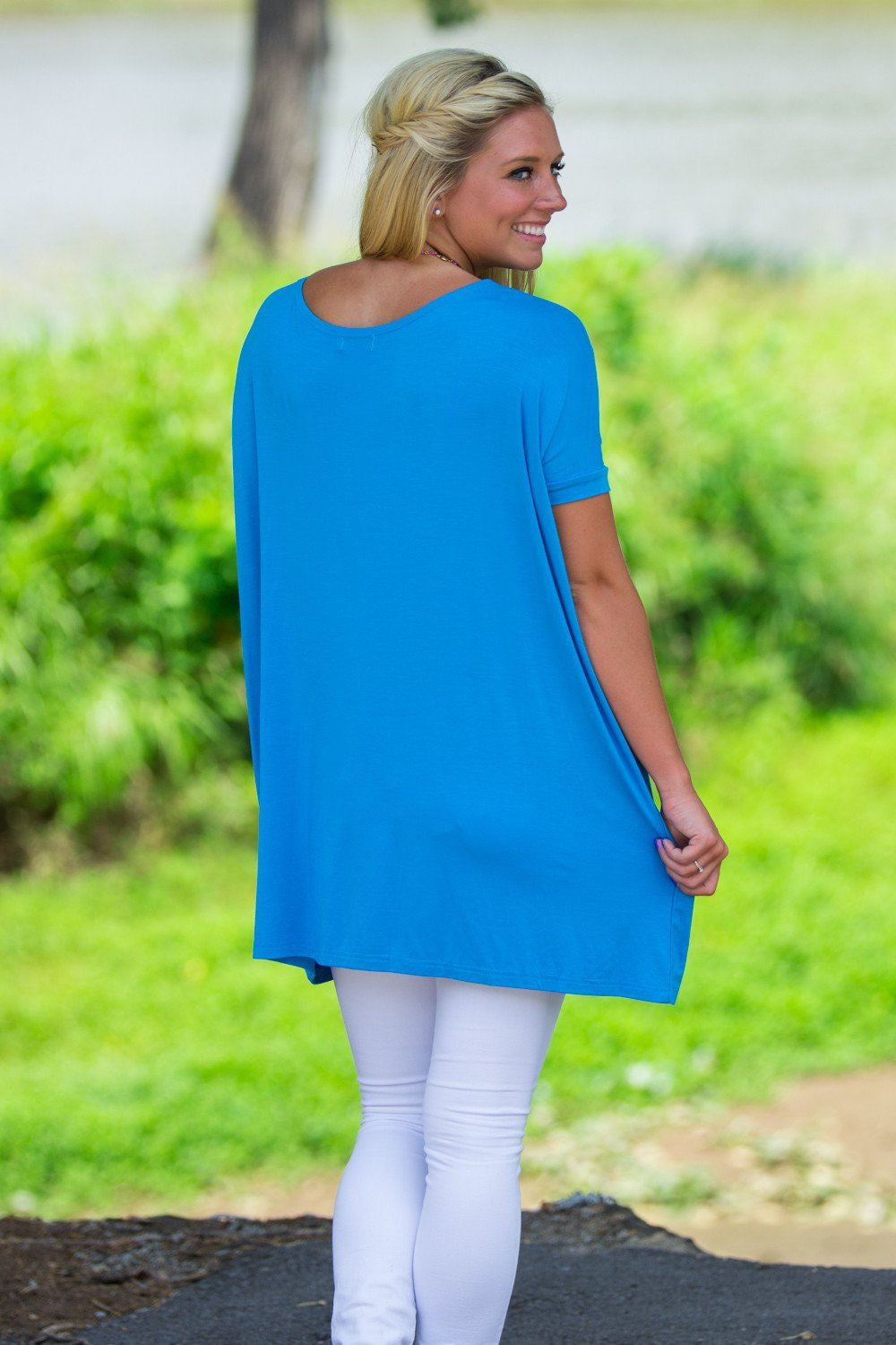 Short Sleeve Piko Tunic - Dazzling Blue - Piko Clothing - 2