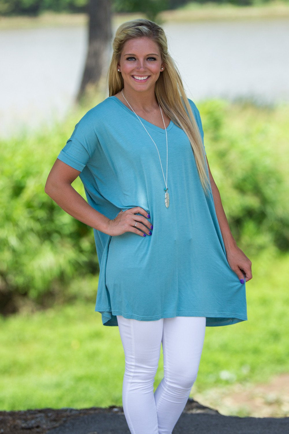 Short Sleeve V-Neck Piko Tunic - Light Teal - Piko Clothing