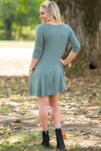 Piko 3/4 Sleeve Swing Dress - Olive