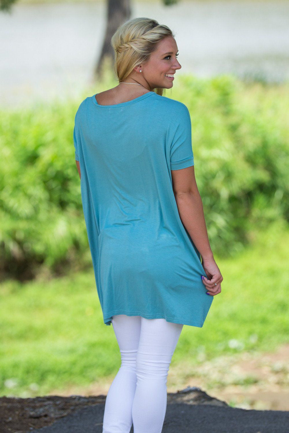 Short Sleeve V-Neck Piko Tunic - Light Teal - Piko Clothing - 2