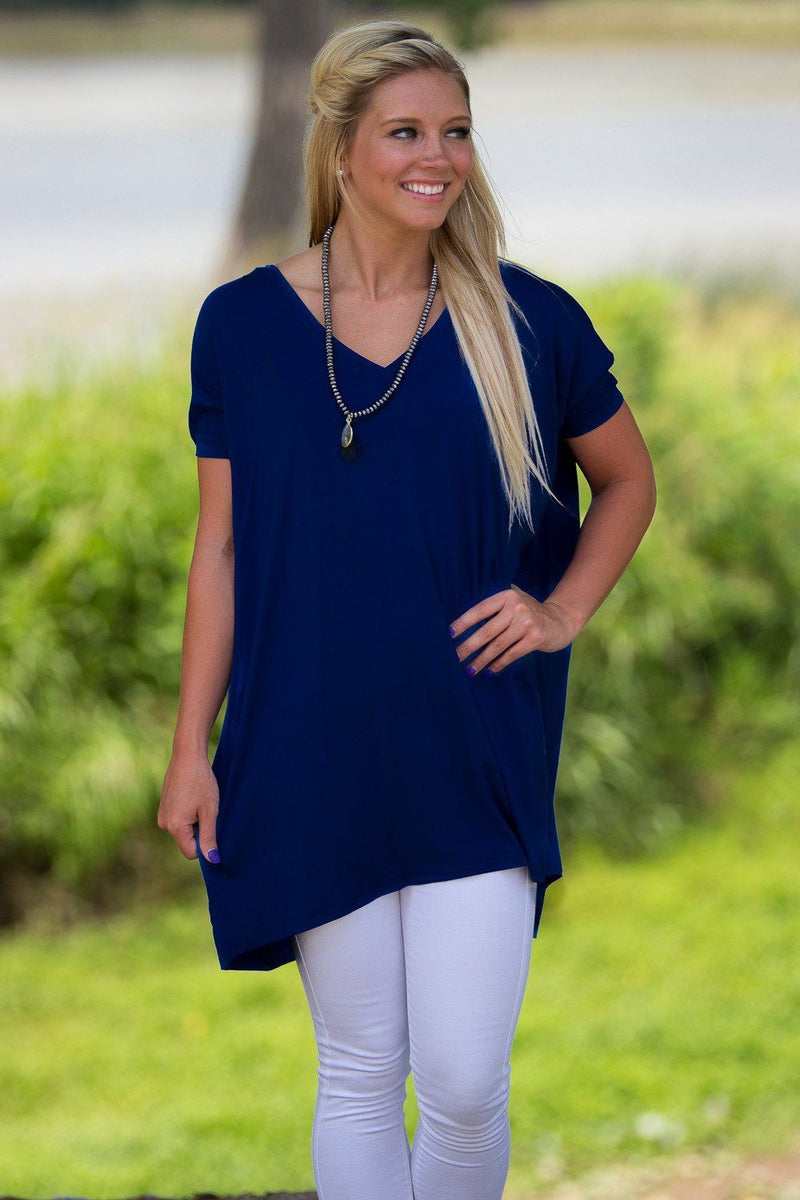 Short Sleeve V-Neck Piko Tunic - Navy