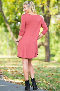 Piko 3/4 Sleeve Swing Dress - Marsala