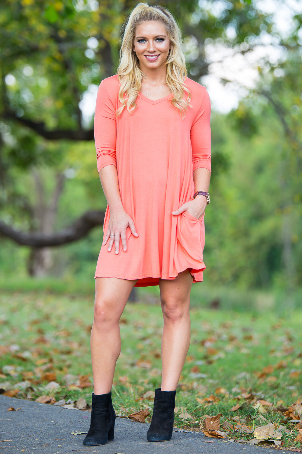Piko 3/4 V-Neck Sleeve Swing Dress - Dark Peach