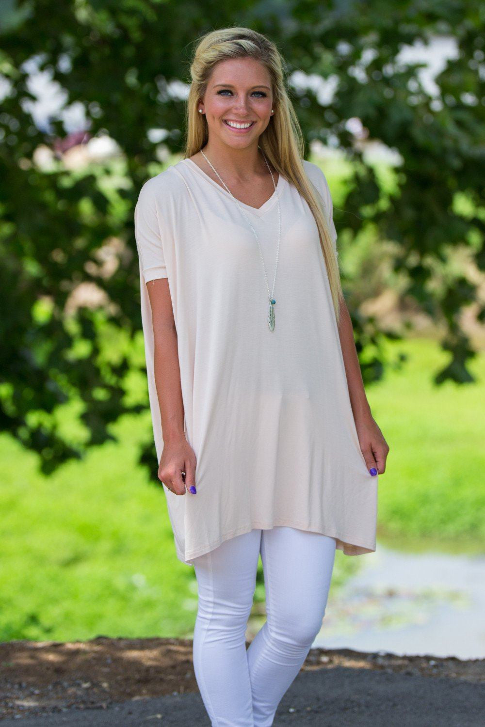 Short Sleeve V-Neck Piko Tunic - Cream - Piko Clothing