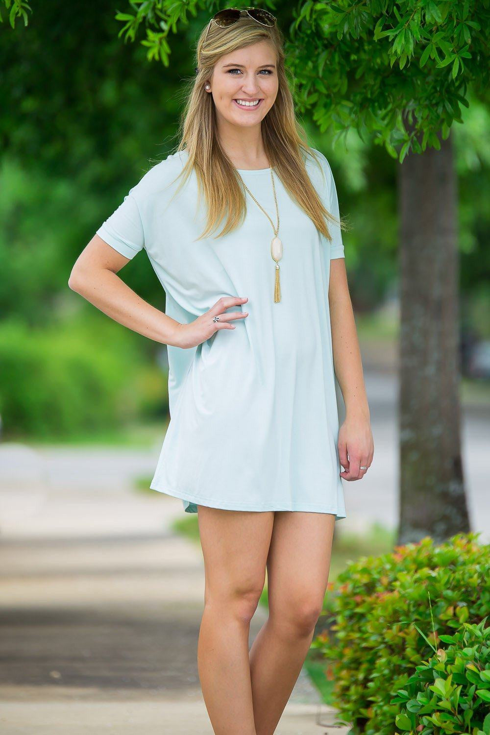 Short Sleeve Piko Tunic - Mint - Piko Clothing - 1