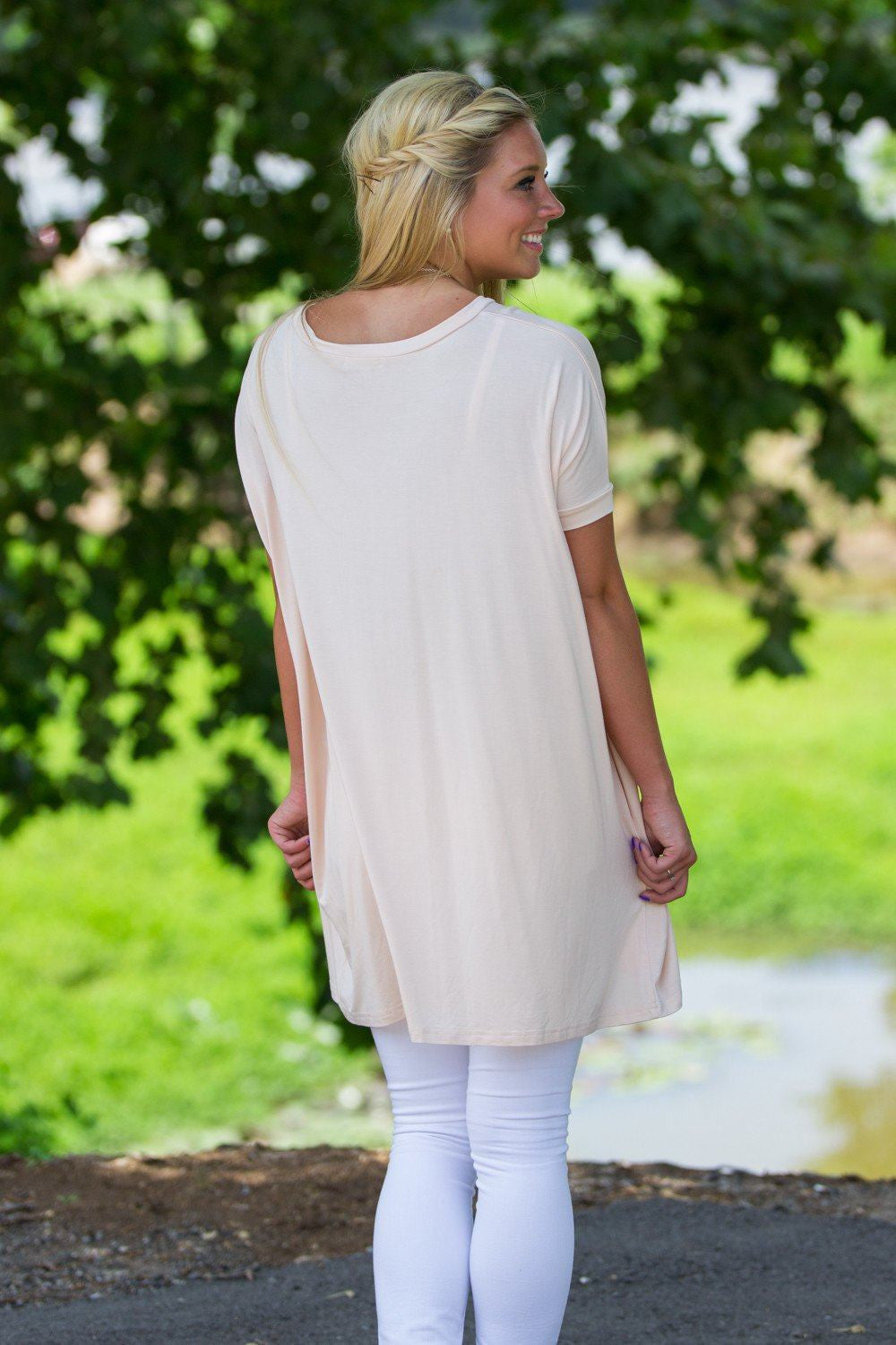 Short Sleeve V-Neck Piko Tunic - Cream - Piko Clothing - 2