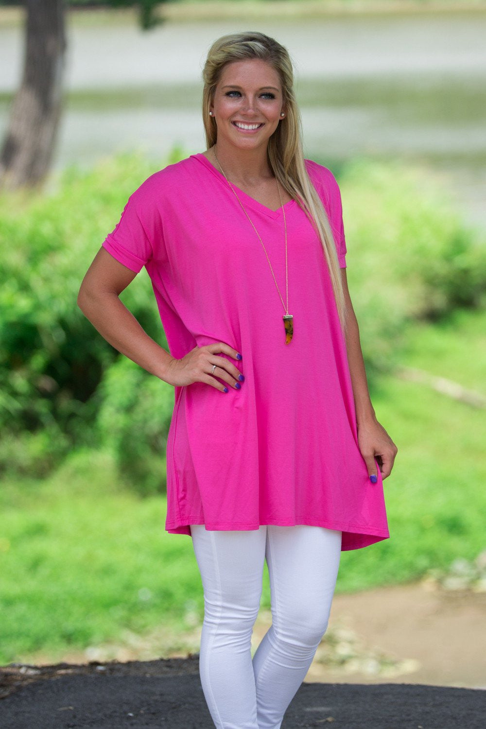 Short Sleeve V-Neck Piko Tunic - French Rose - Piko Clothing - 1