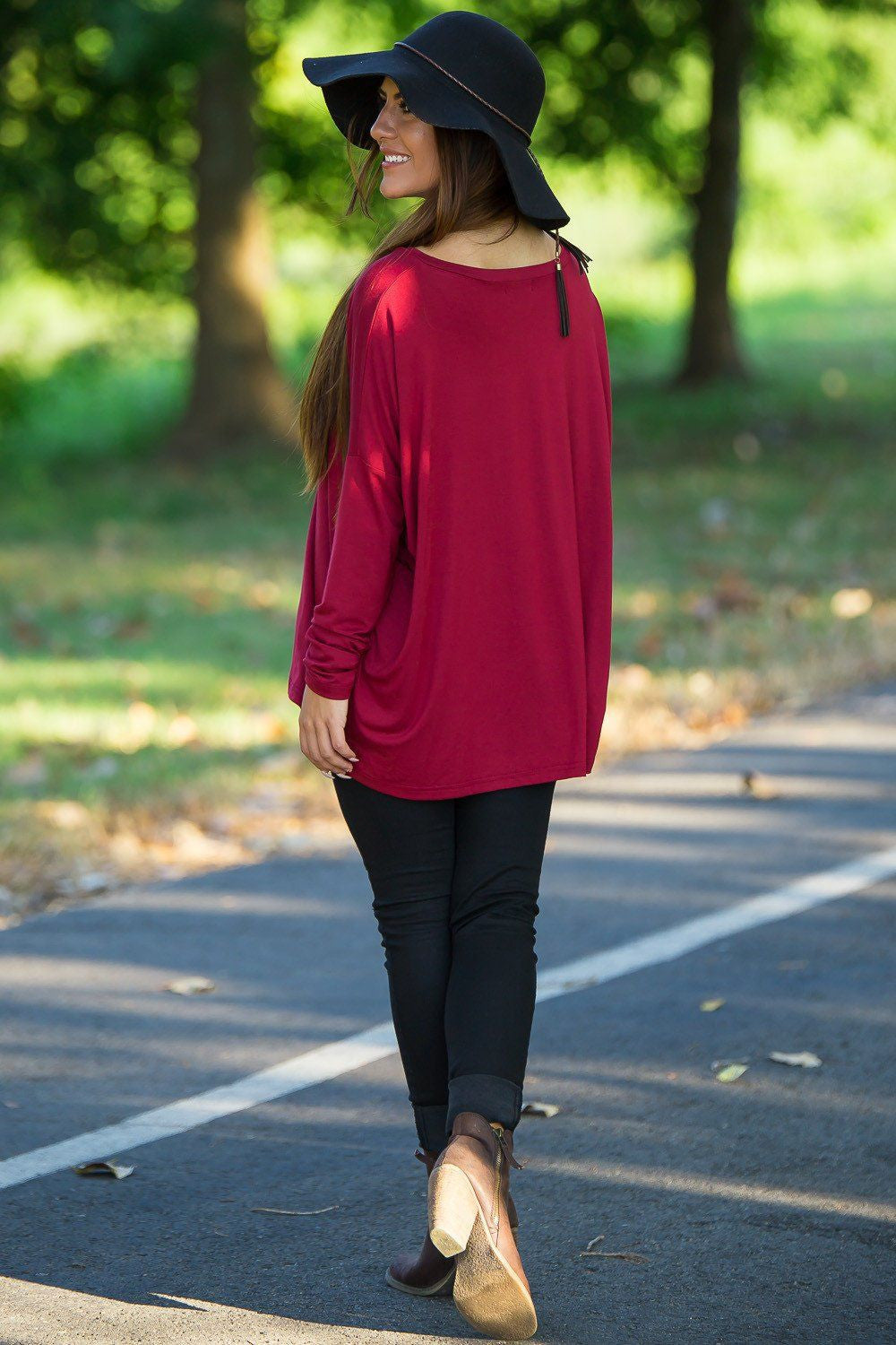 Long Sleeve V-Neck Piko Top - Wine - Piko Clothing