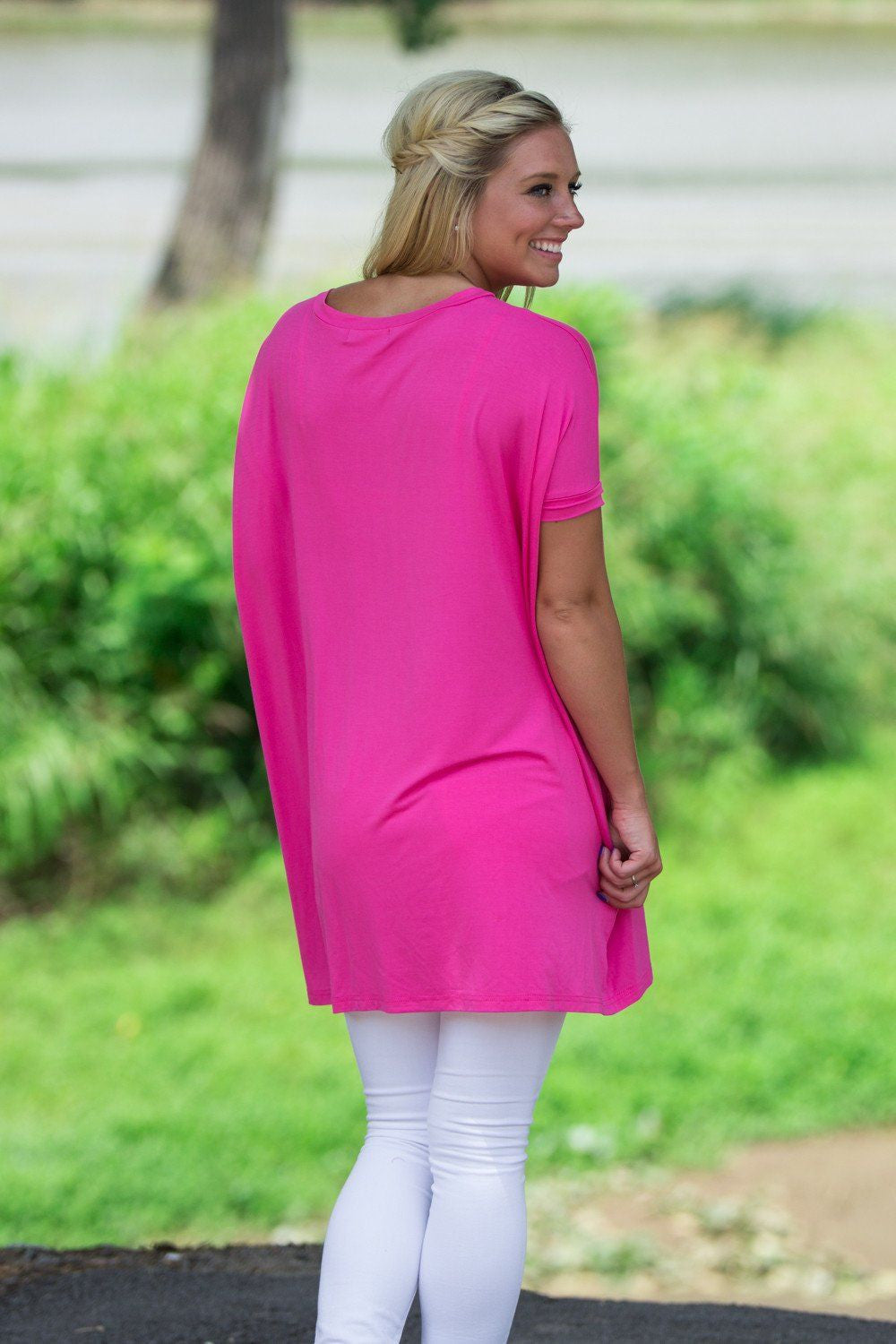 Short Sleeve V-Neck Piko Tunic - French Rose - Piko Clothing