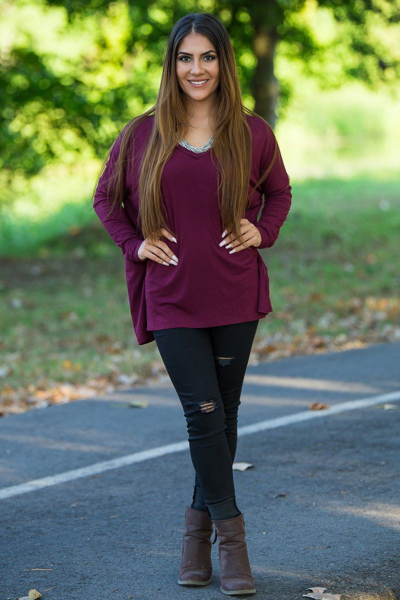 Long Sleeve V-Neck Piko Top - Plum - Piko Clothing