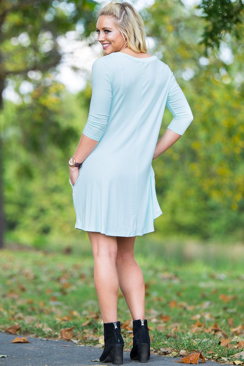 Piko 3/4 V-Neck Sleeve Swing Dress - Mint - Piko Clothing