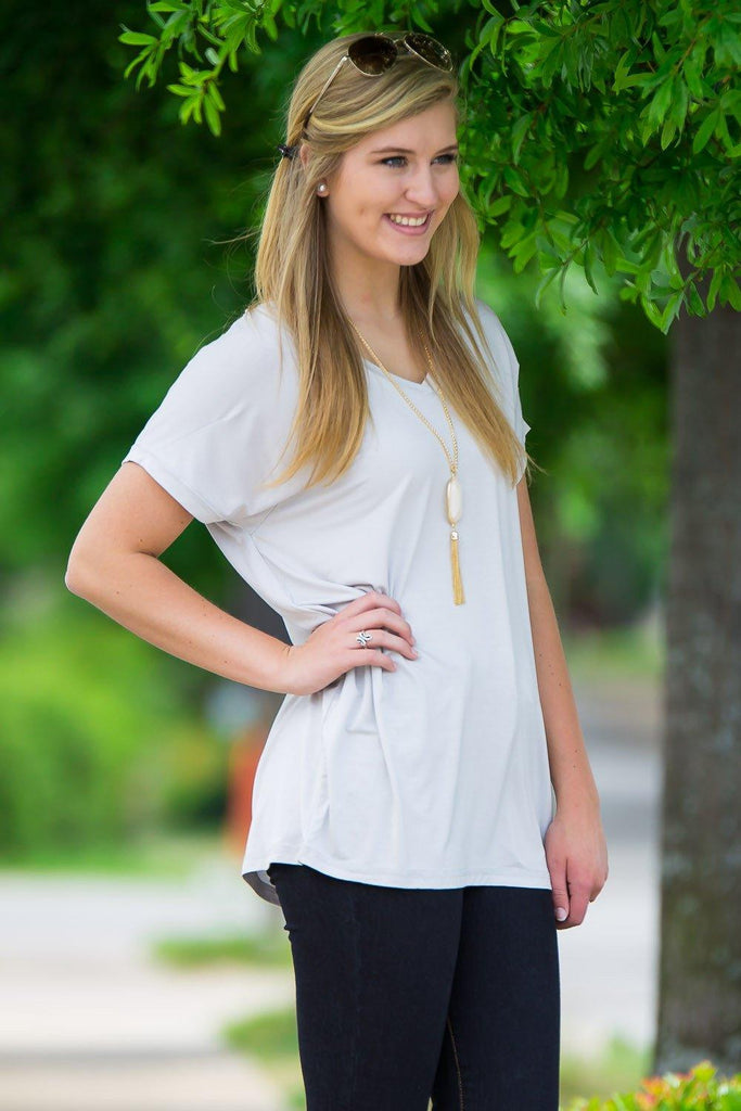 Short Sleeve Rolled Sleeve V-Neck Piko Top - Glacier Grey - Piko Clothing - 1