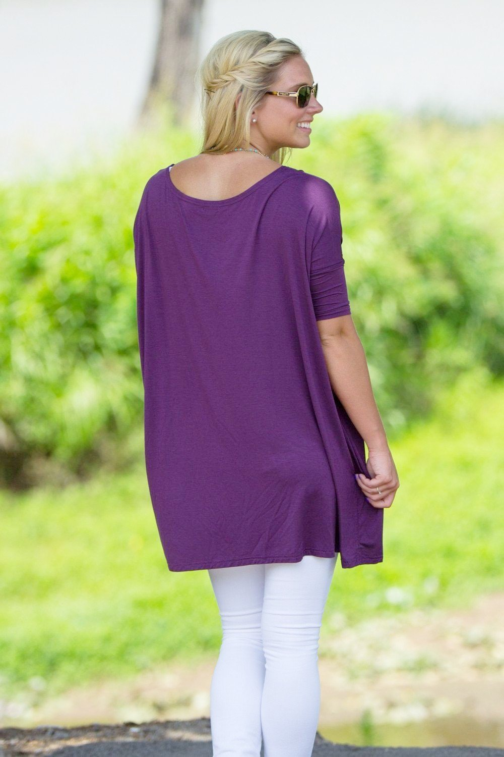 Half Sleeve Piko Tunic - Dark Purple - Piko Clothing