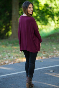 Long Sleeve V-Neck Piko Top - Dark Maroon - Piko Clothing
