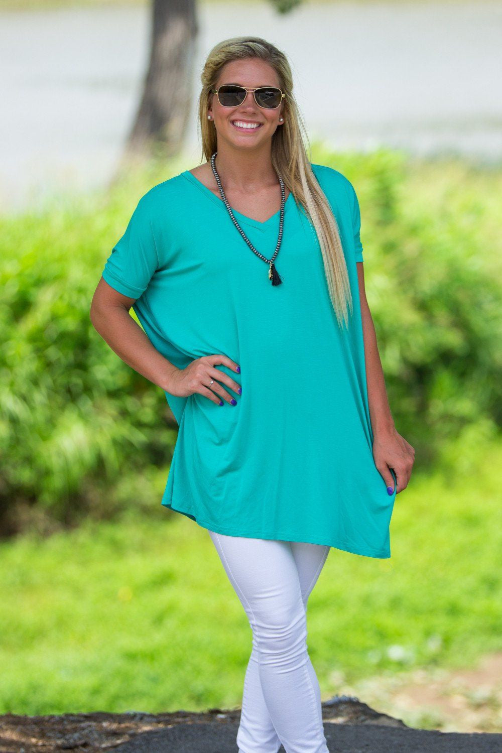 Short Sleeve V-Neck Piko Tunic - Light Green - Piko Clothing - 1