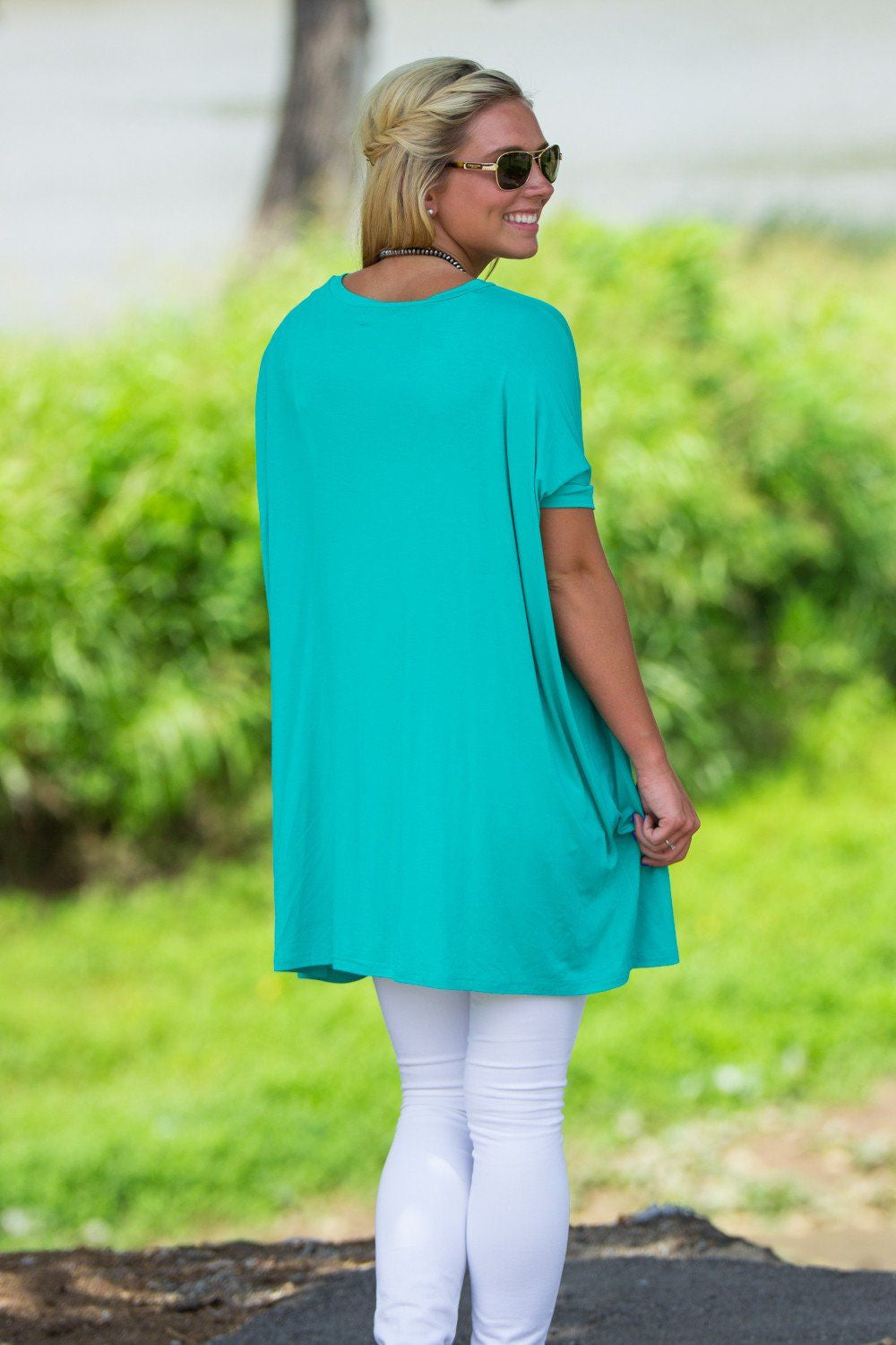 Short Sleeve V-Neck Piko Tunic - Light Green - Piko Clothing - 2