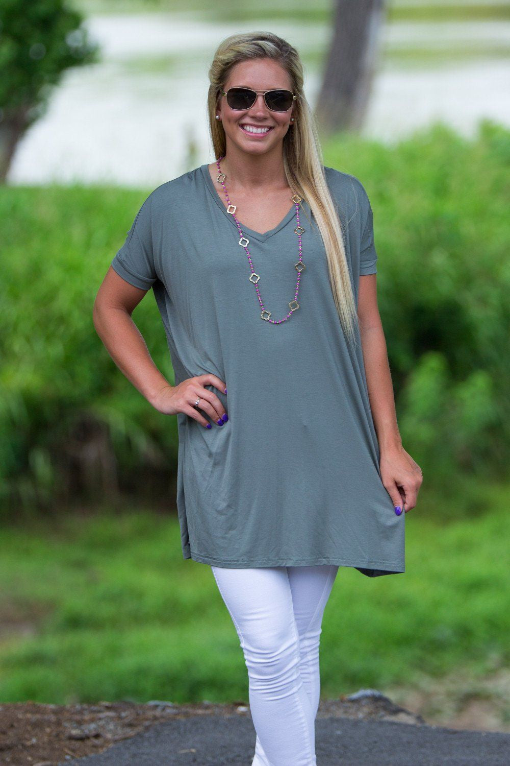 Short Sleeve V-Neck Piko Tunic - Olive - Piko Clothing - 1