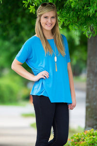Short Sleeve Piko Top - Dazzling Blue - Piko Clothing - 1