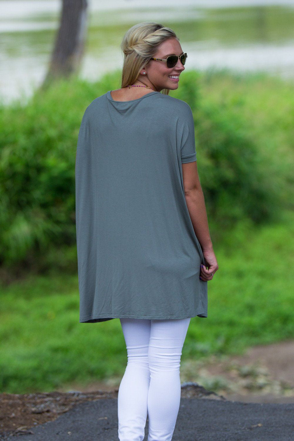 Short Sleeve V-Neck Piko Tunic - Olive - Piko Clothing - 2
