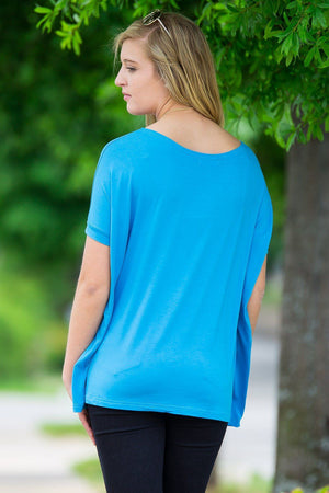 Short Sleeve Piko Top - Dazzling Blue - Piko Clothing - 2