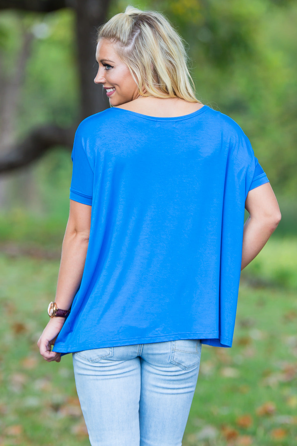 Short Sleeve Piko Top - Snorkel Blue