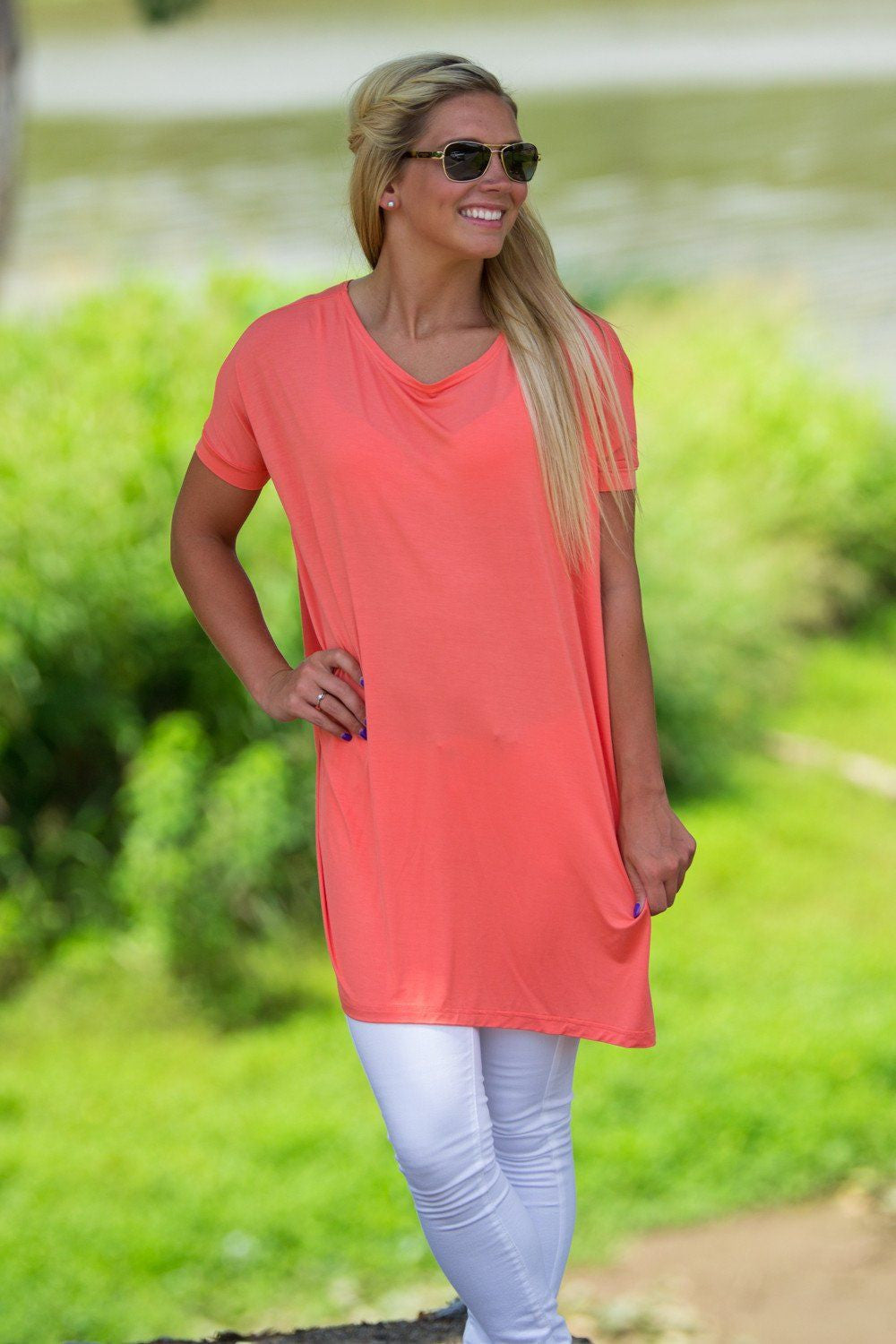 Short Sleeve V-Neck Piko Tunic - Dark Peach - Piko Clothing - 1