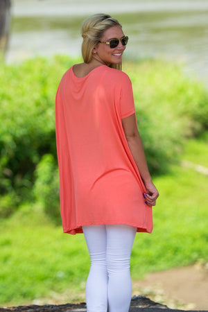 Short Sleeve V-Neck Piko Tunic - Dark Peach - Piko Clothing