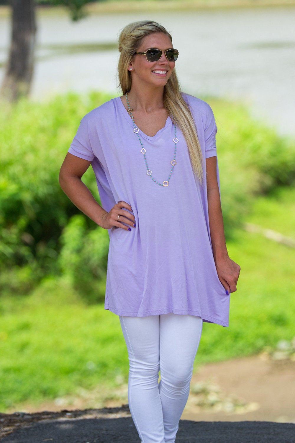 Short Sleeve V-Neck Piko Tunic - Lilac - Piko Clothing - 1