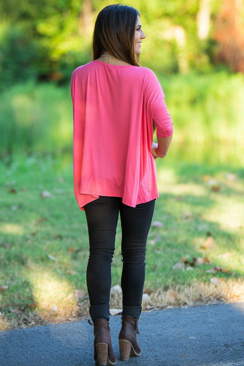 3/4 Sleeve Piko Top - Coral - Piko Clothing
