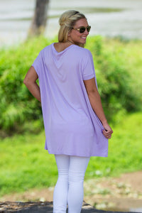 Short Sleeve V-Neck Piko Tunic - Lilac - Piko Clothing - 2
