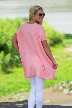 Short Sleeve V-Neck Piko Tunic - Peach - Piko Clothing