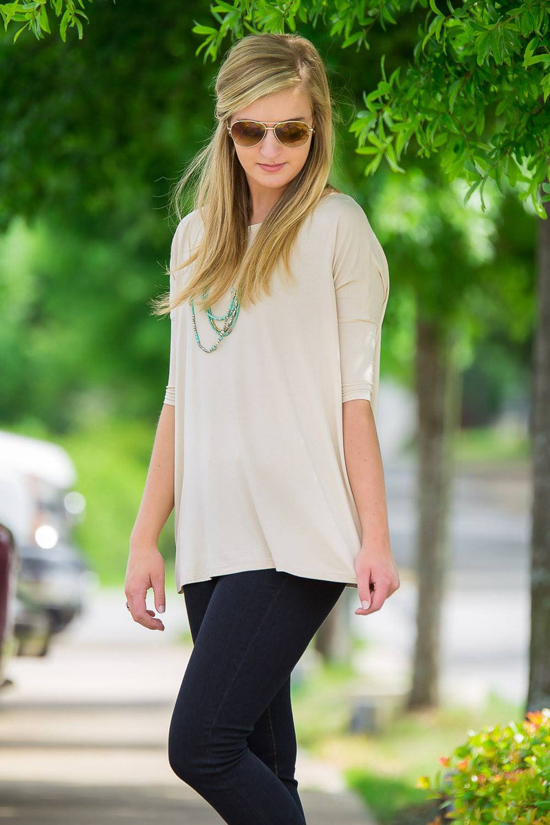 3/4 Sleeve Piko Top - Beige - Piko Clothing