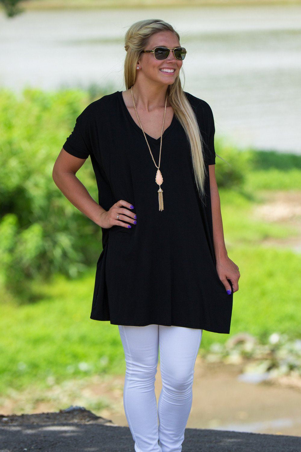 Short Sleeve V-Neck Piko Tunic - Black - Piko Clothing - 1