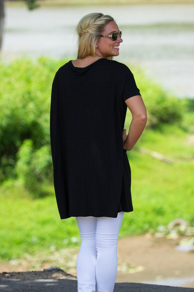 Short Sleeve V-Neck Piko Tunic - Black - Piko Clothing - 2