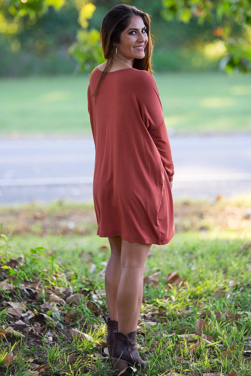 Long Sleeve Piko Tunic - Rust - Piko Clothing