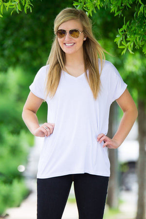 Short Sleeve Rolled Sleeve V-Neck Piko Top - White - Piko Clothing - 1