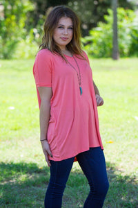 Short Sleeve V-Neck Piko Tunic - Pink - Piko Clothing - 1