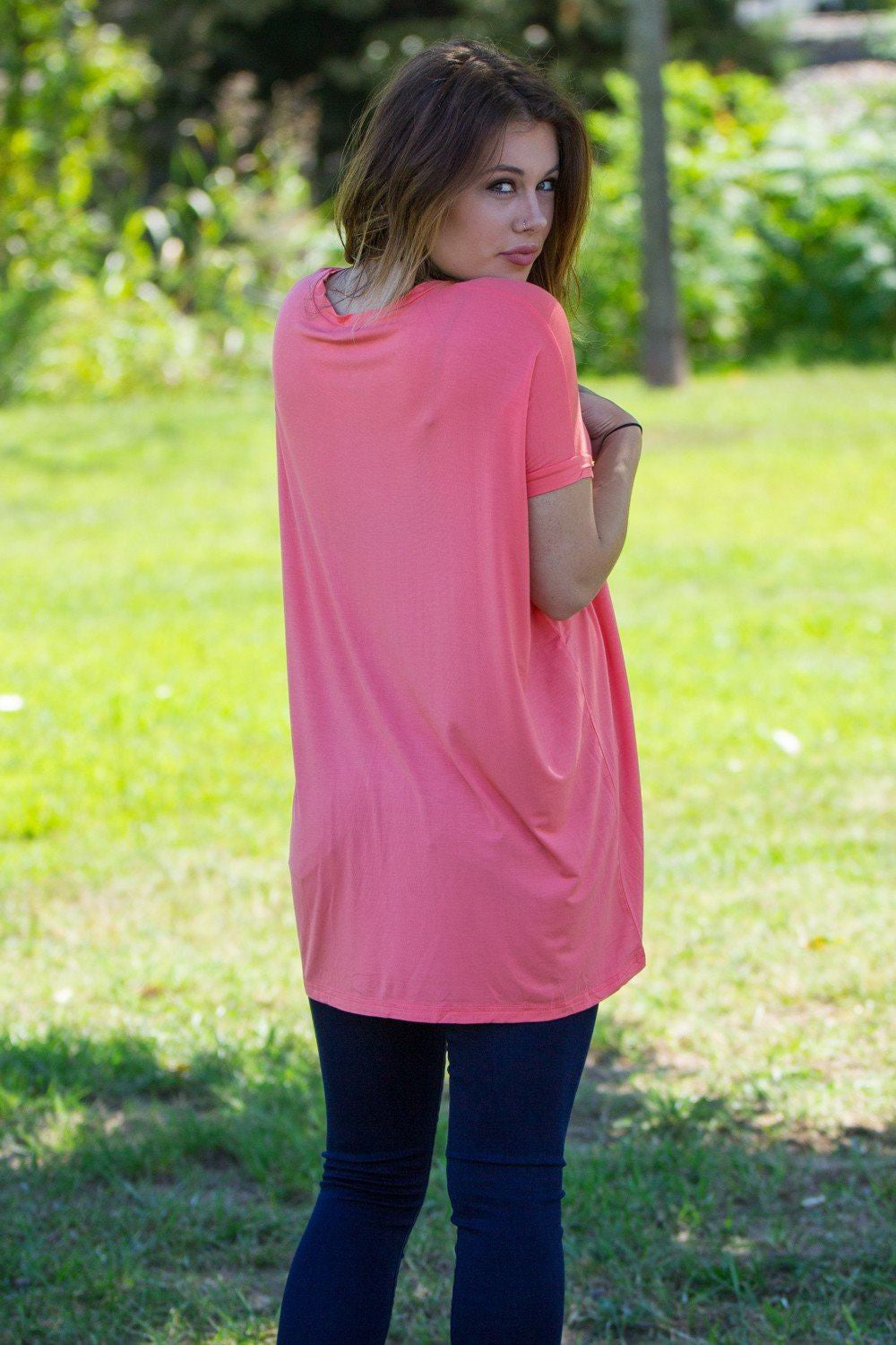 Short Sleeve V-Neck Piko Tunic - Pink - Piko Clothing