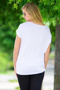 Short Sleeve Rolled Sleeve V-Neck Piko Top - White - Piko Clothing - 2