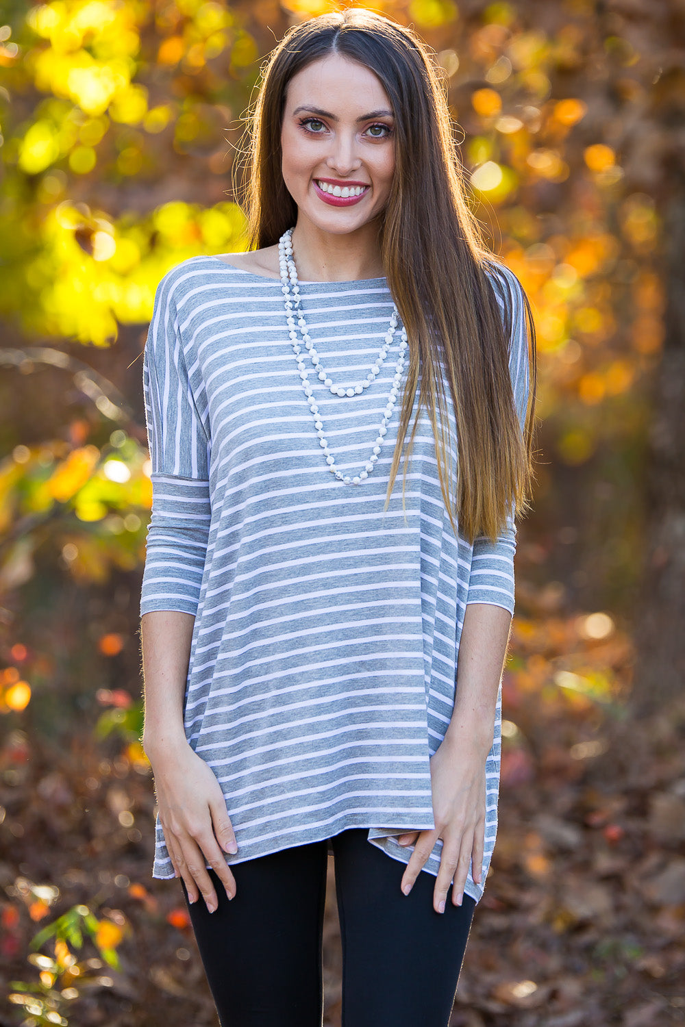 3/4 Sleeve Tiny Striped Piko Top - Heather/White - Piko Clothing