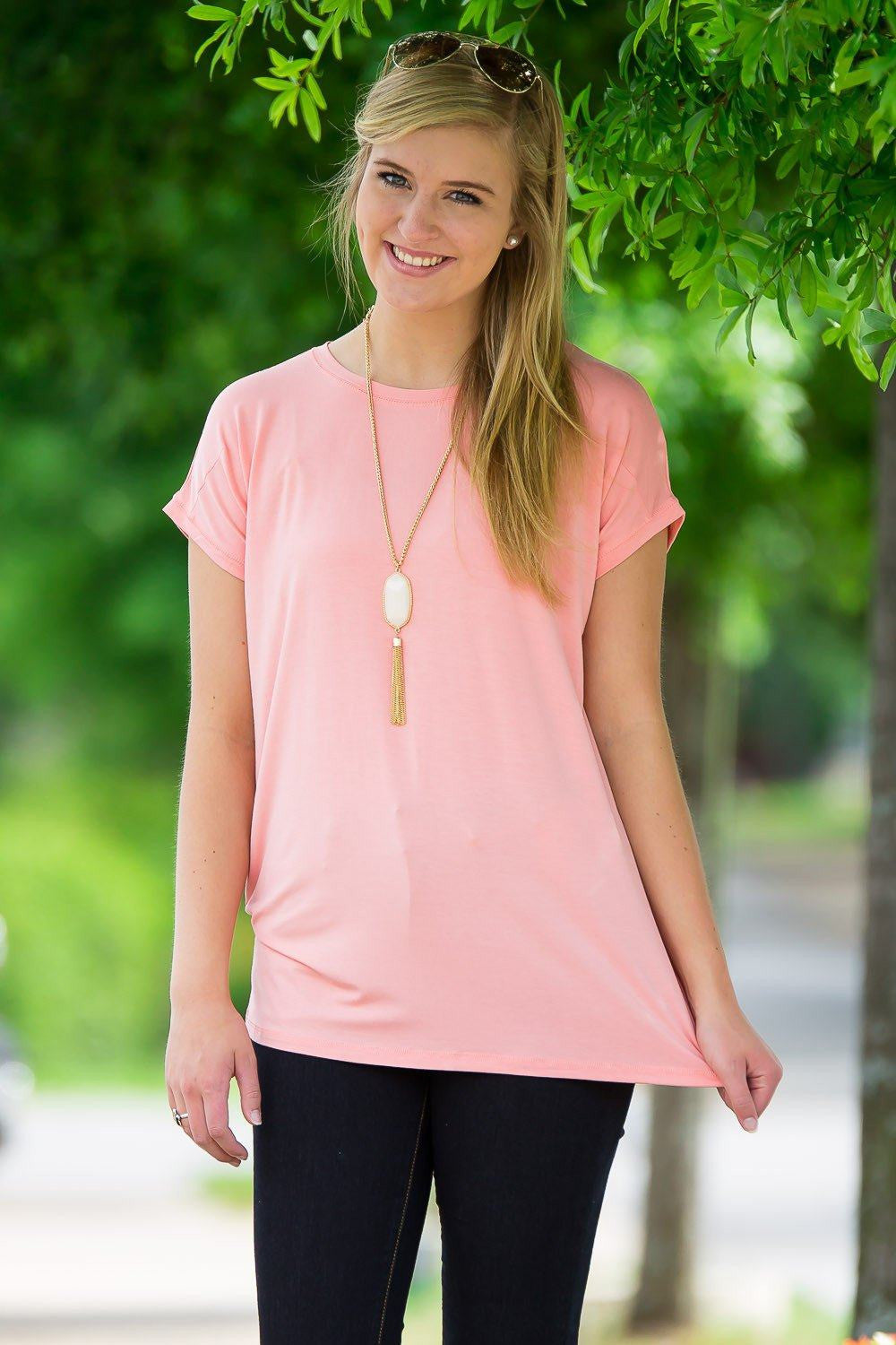 Short Sleeve Rolled Sleeve Piko Top - Peach - Piko Clothing - 1