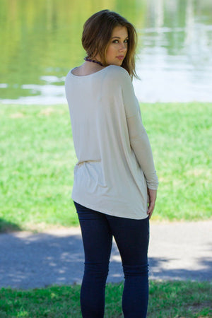 Long Sleeve Piko Top - Beige - Piko Clothing