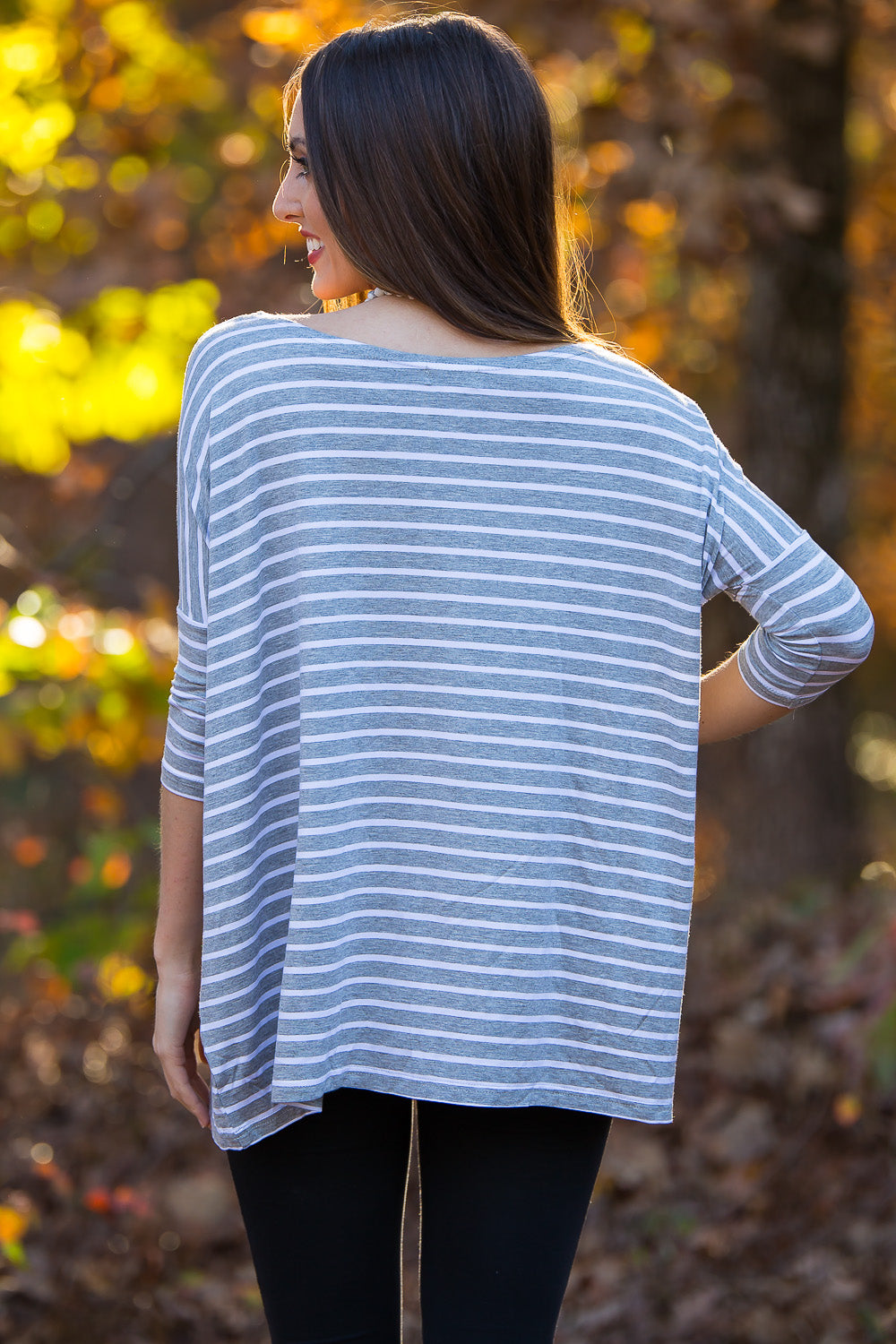 3/4 Sleeve Tiny Striped Piko Top - Heather/White