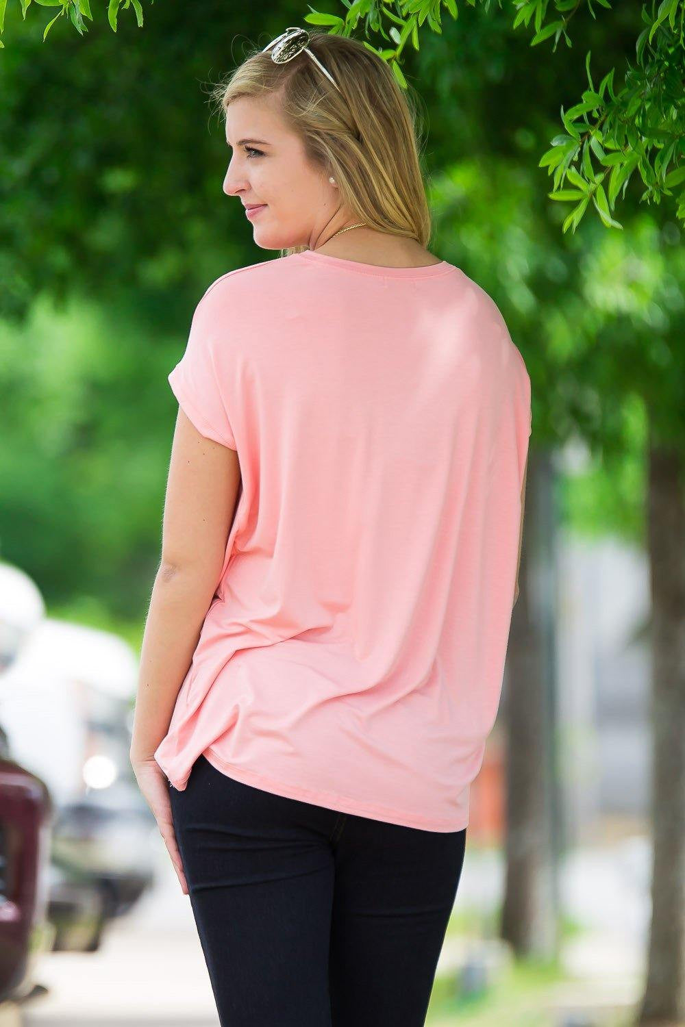 Short Sleeve Rolled Sleeve Piko Top - Peach - Piko Clothing - 2
