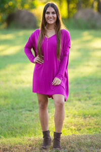 Long Sleeve V-Neck Piko Tunic - Orchid - Piko Clothing