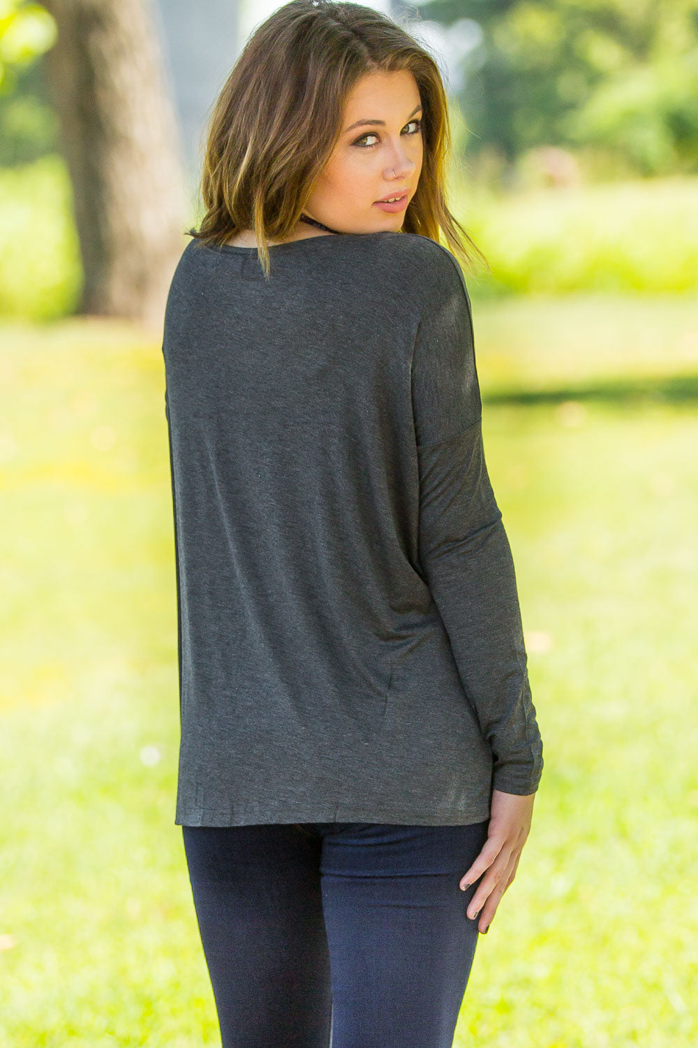 Long Sleeve Piko Top - Dark Heather Grey - Piko Clothing