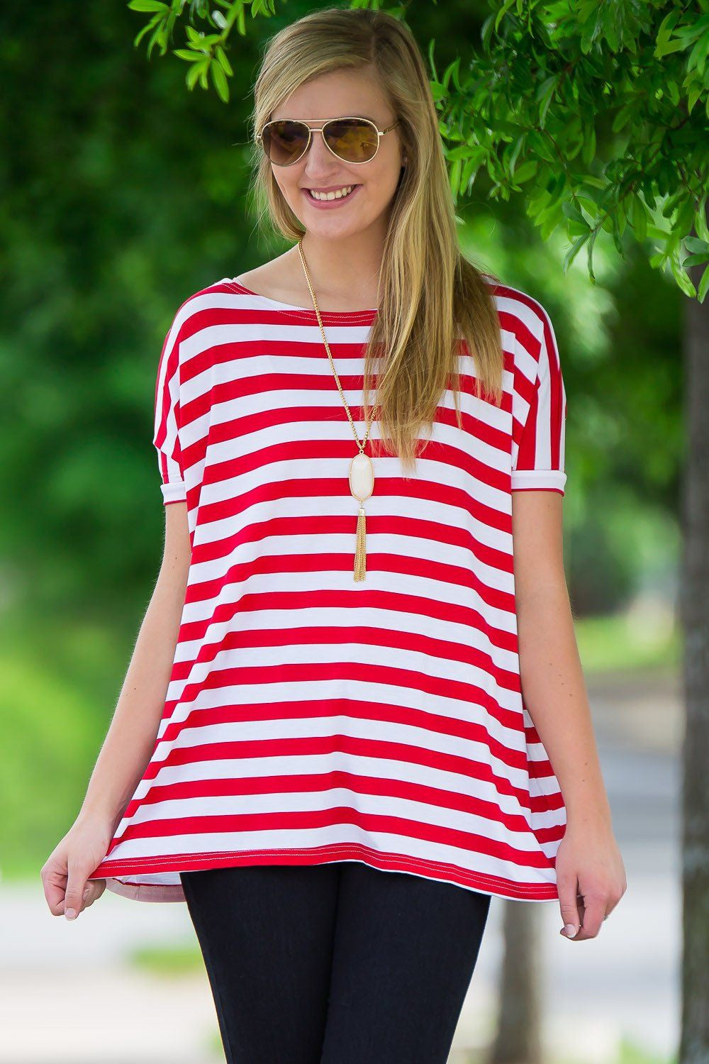 Short Sleeve Thick Stripe Piko Top - Red/White - Piko Clothing - 1